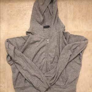 Cropped brandy waffle knit cropped hoodie